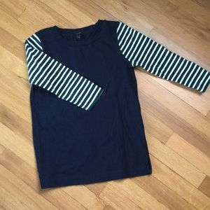 Women's Navy Blue embellished sleeve shirt